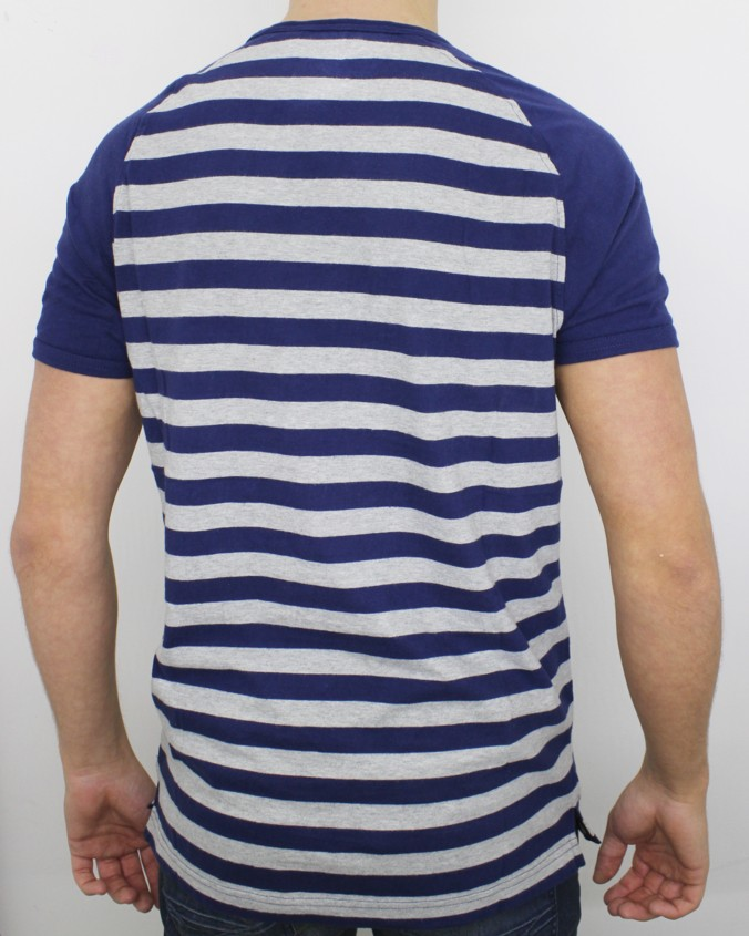 Luke 1977 Mens Breton Raglan Stripe Navy Grey tshirt