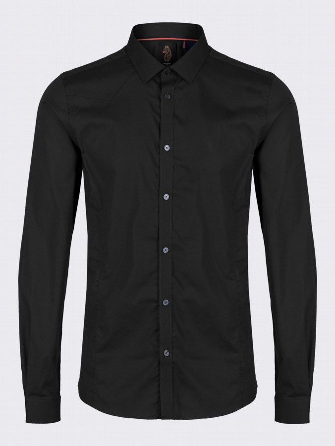 Luke 1977 mens designer skinny fit shirt black