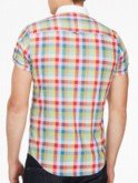 luke 1977 mens designer multicolour gingham short sleeve shirt