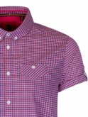 luke 1977 mens designer pink gingham shirt