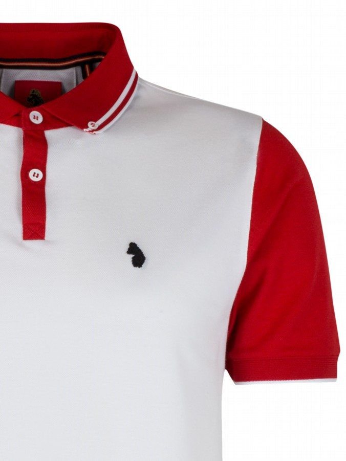 Luke 1977 mens designer contrast sleeve white polo shirt