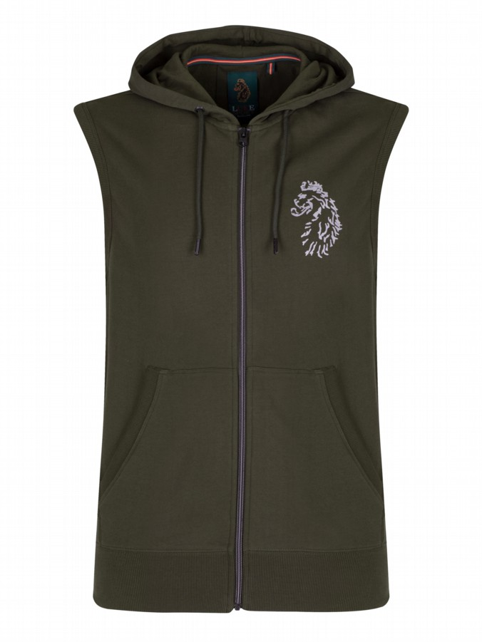 hendrix luke sport hooded tank gym gilet olive green