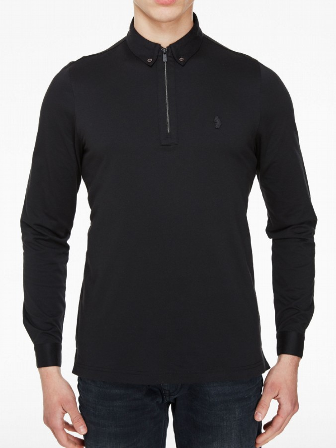 luke 1977 mens designer long ronson black long sleeve polo shirt