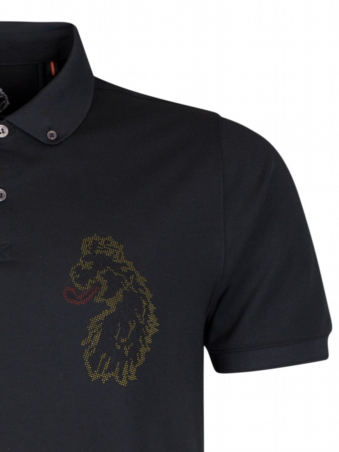 luke 1977 mens designer black polo shirt oversize lion logo