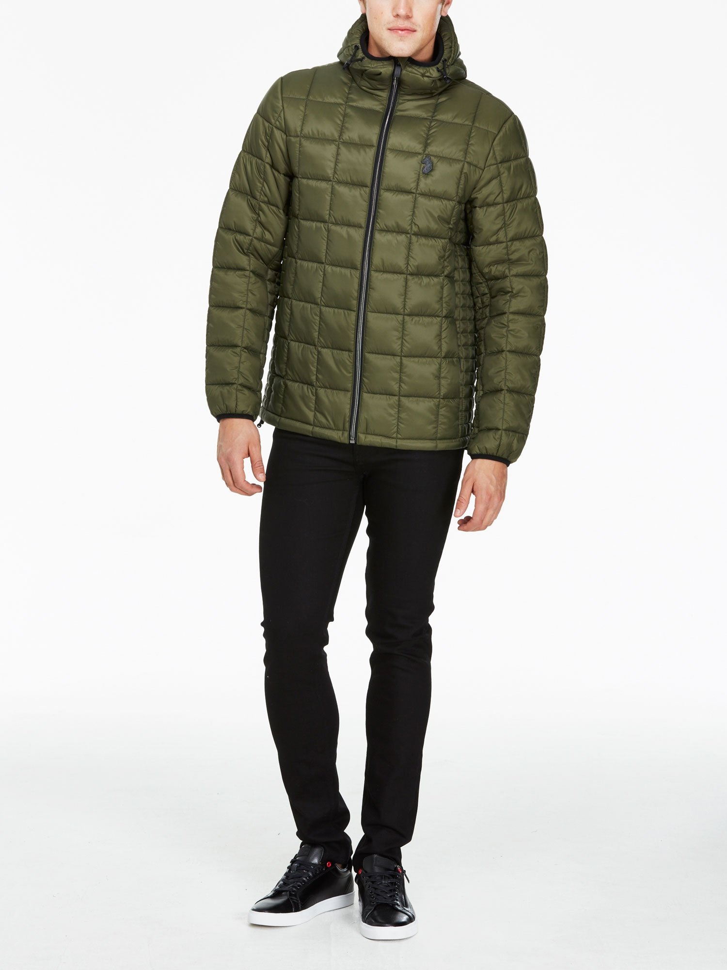 Luke 1977 Mens Southy Zip Through Quilted Lightweight Hooded Jacket Polyester
