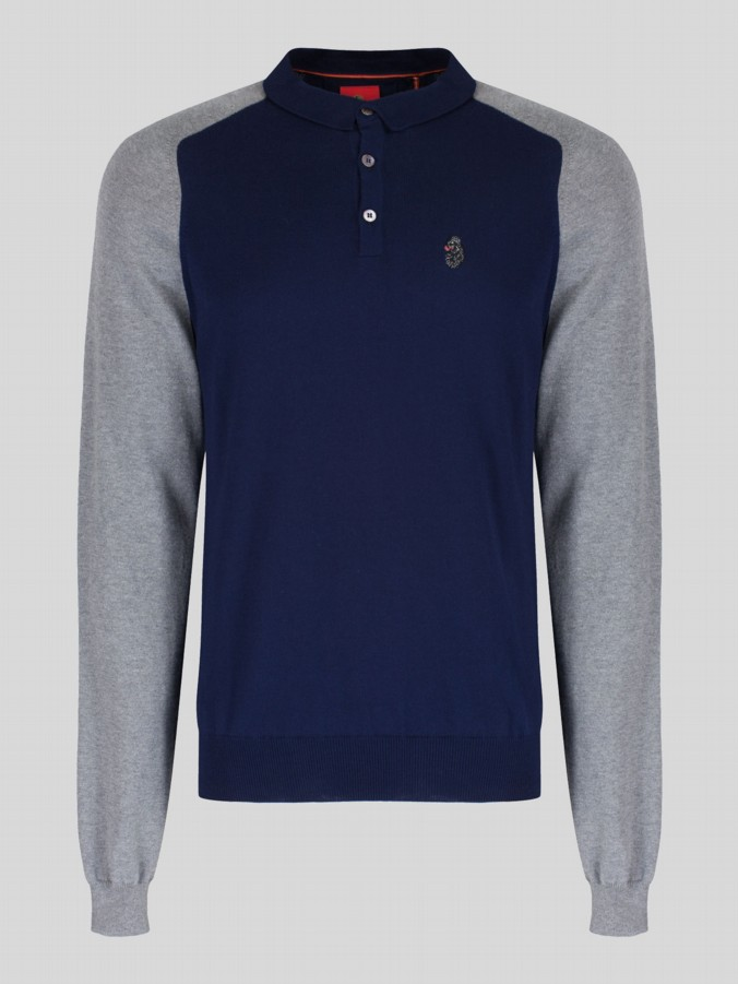 luke 1977 mens designer knitted long sleeve polo shirt