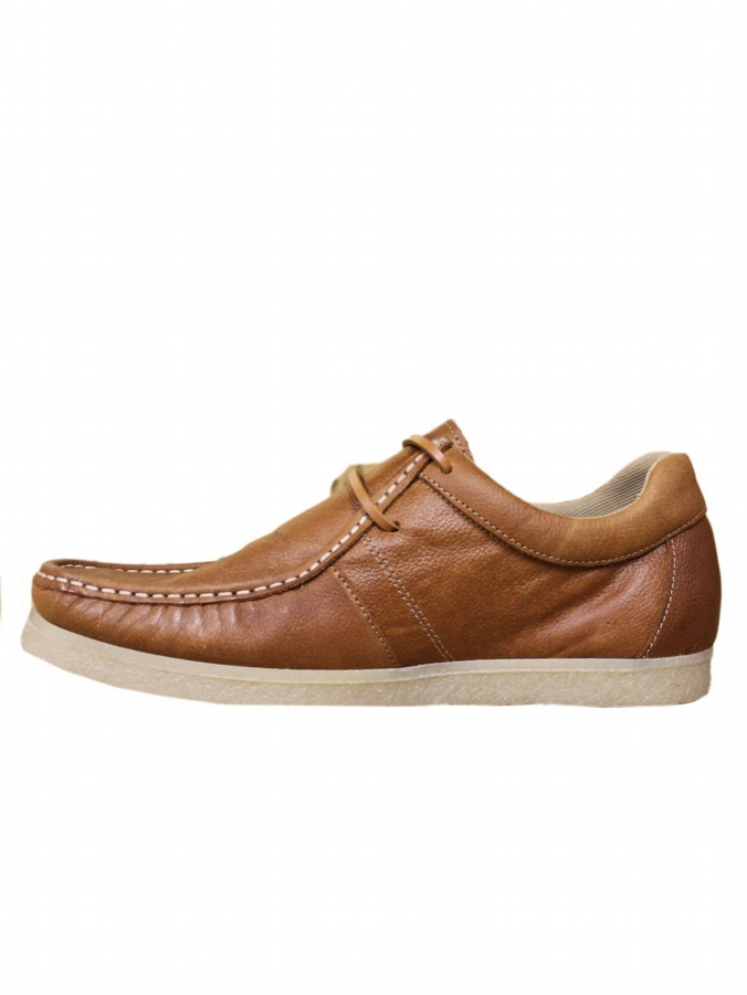 luke 1977 mens designer leather tan moccasin shoes