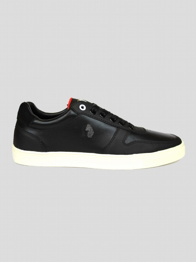 luke 1977 mens designer black leather trainers
