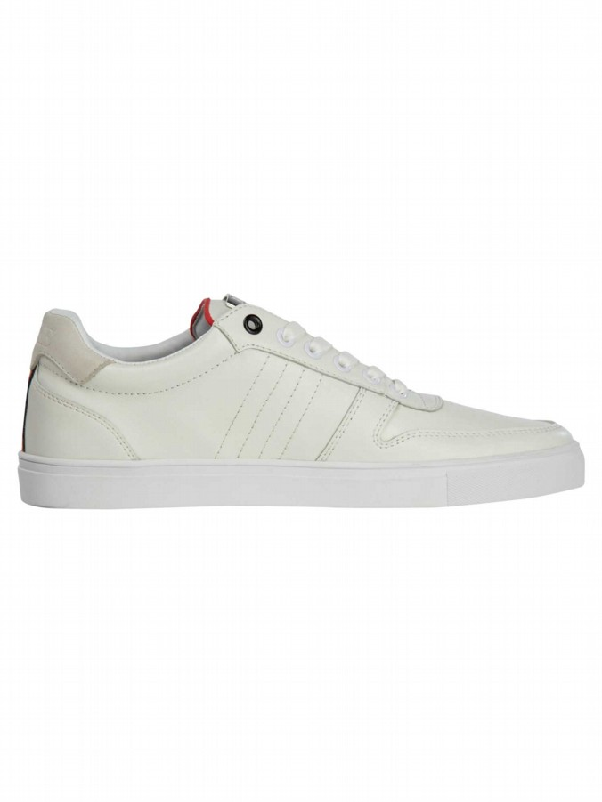 luke 1977 mens designer white leather trainers