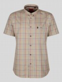 luke 1977 mens designer cream multicoloured check short sleeve summer shirt