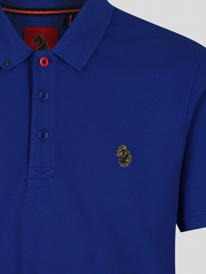 luke 1977 mens designer lux royal blue polo shirt