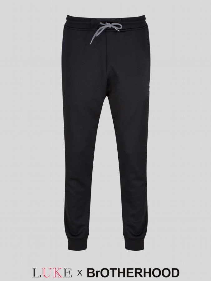 luke 1977 brotherhood collab mens designer black jogging bottoms
