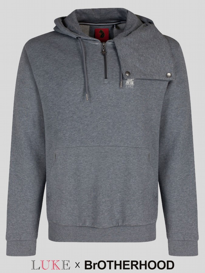 luke 1977 brotherhood collab mens designer grey hoodie
