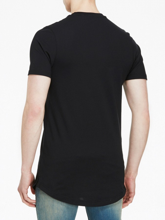 luke 1977 mens designer long line black t-shirt