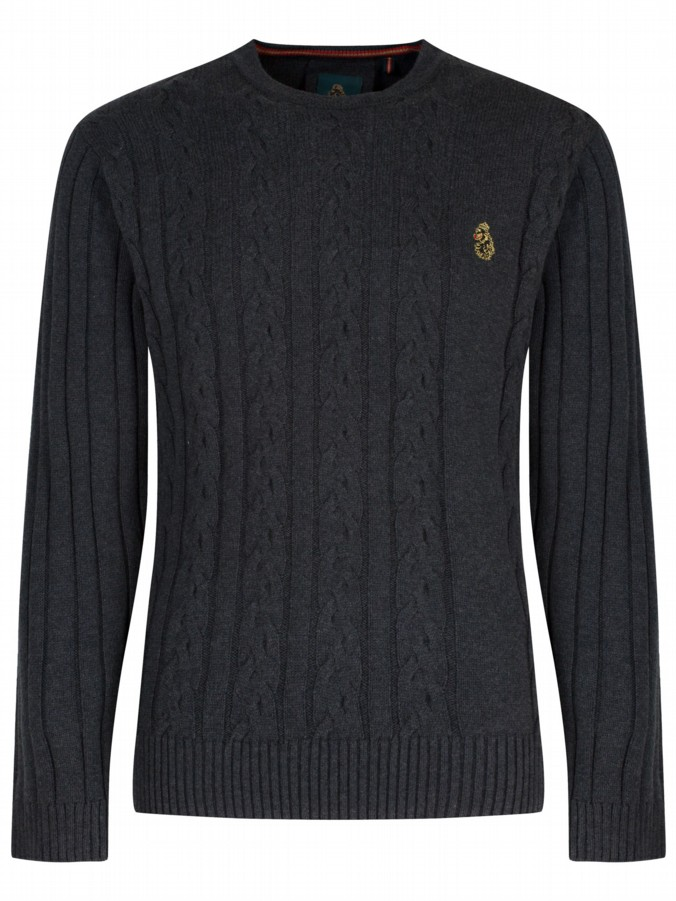 luke 1977 mens designer charcoal cable knit jumper