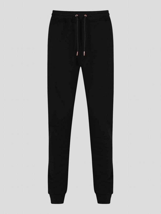 luke 1977 mens designer clothing black tracksuit bottoms rose gold zip