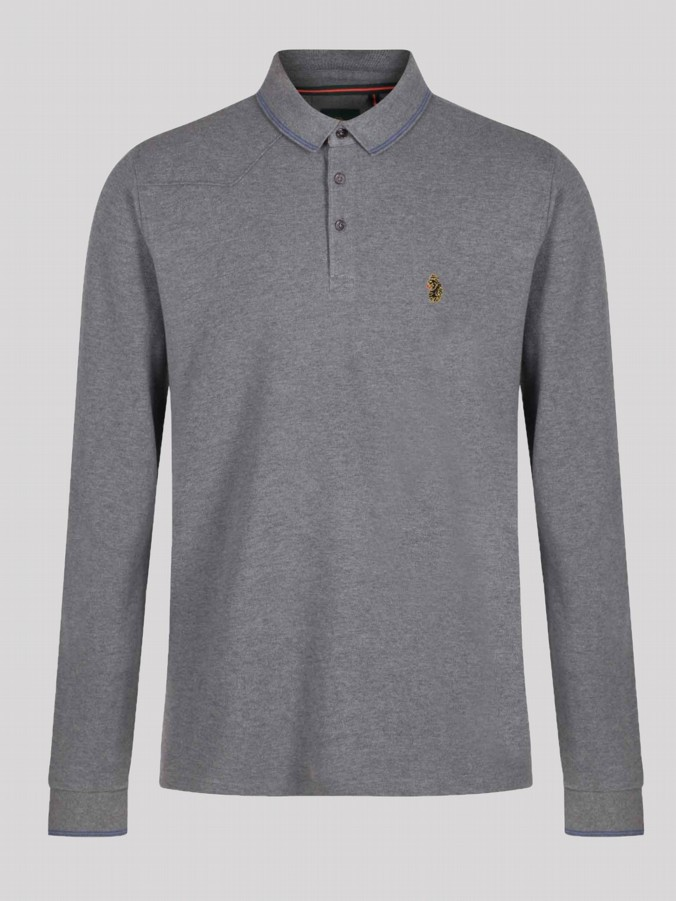 luke 1977 mens designer long sleeve grey polo shirt