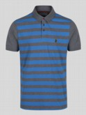 luke 1977 mens designer sky blue grey striped polo shirt