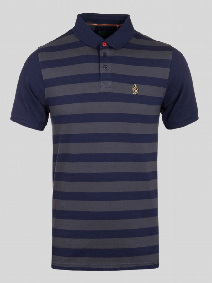 luke 1977 mens designer navy grey stripe polo shirt