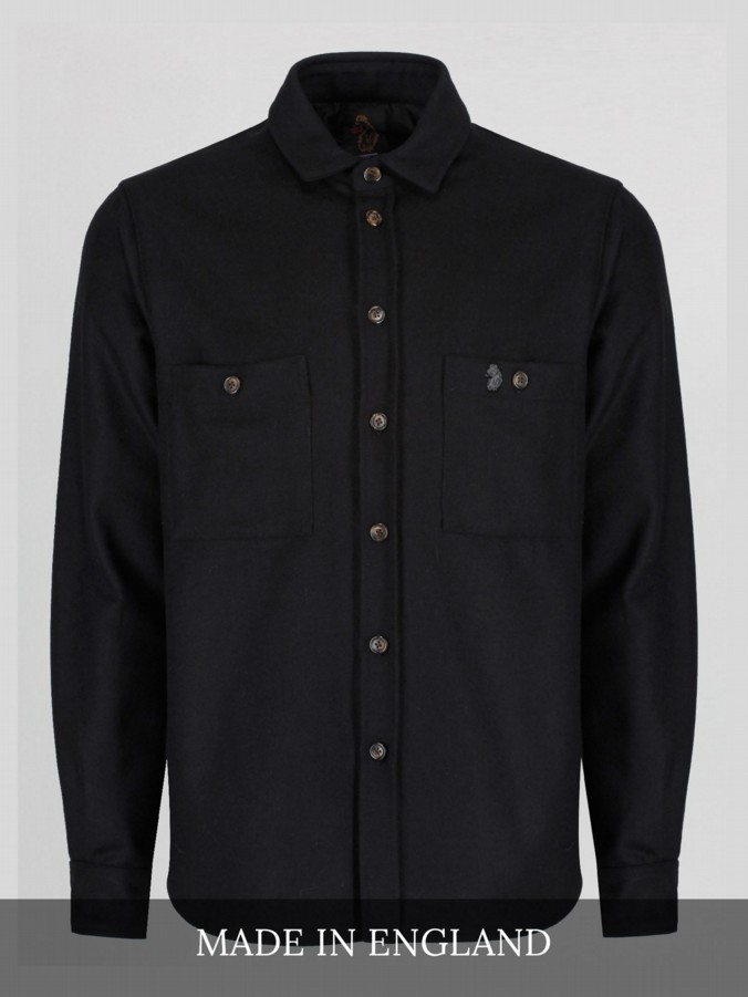 luke 1977 made in england black melton over shirt