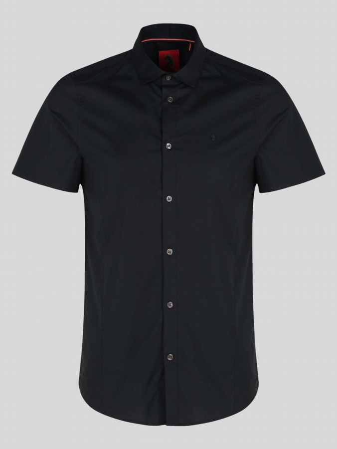 luke 1977 mens designer black skinny fit shirt