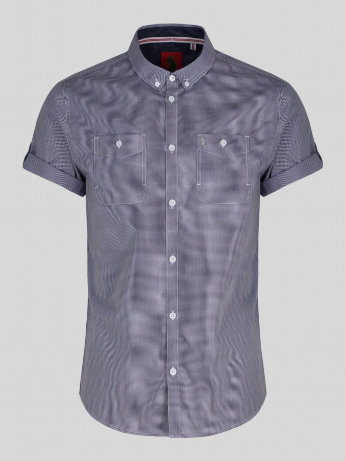 luke 1977 mens designer short sleeve gingham shirt