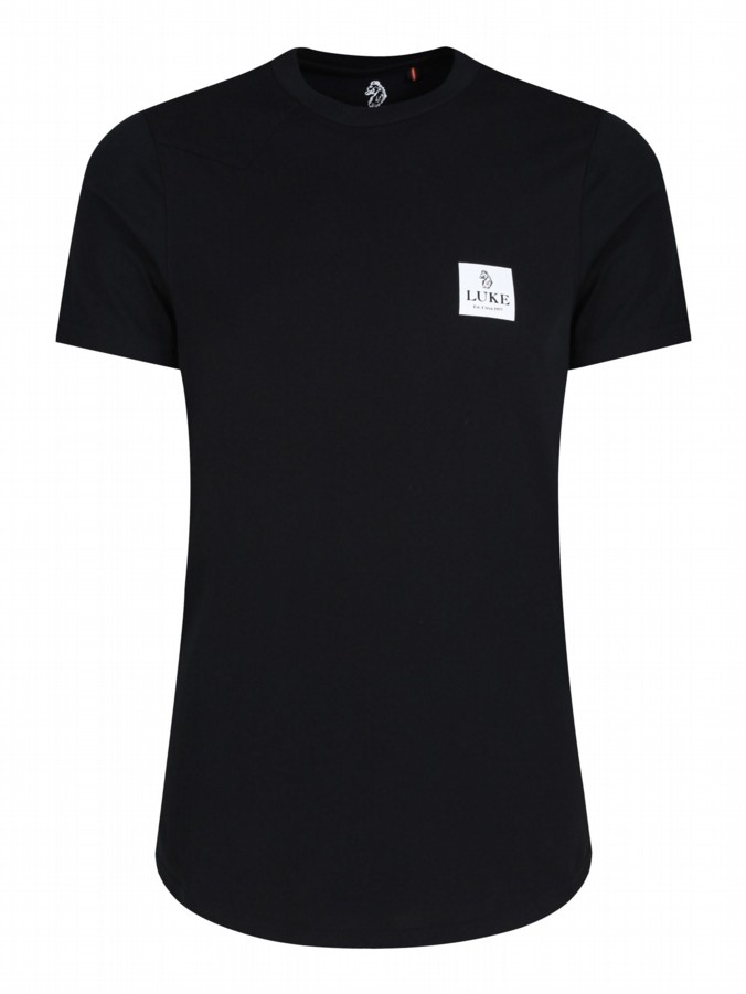 luke 1977 mens designer black long line tshirt