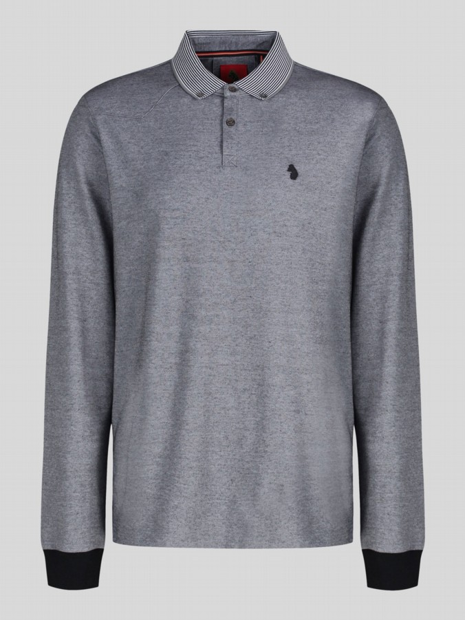 luke 1977 mens designer silver long sleeve polo shirt