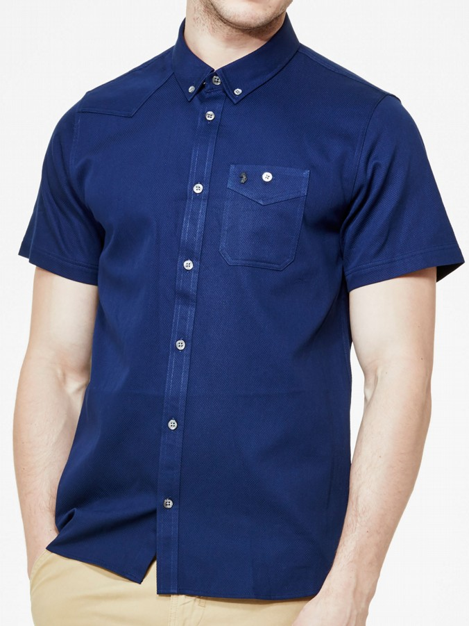 luke 1977 mens designer lux navy short sleeve shirt
