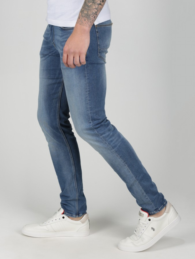luke 1977 mens designer skinny light blue jeans