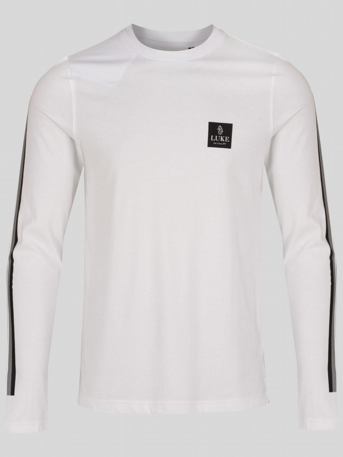 luke 1977 mens designer white long sleeve tshirt