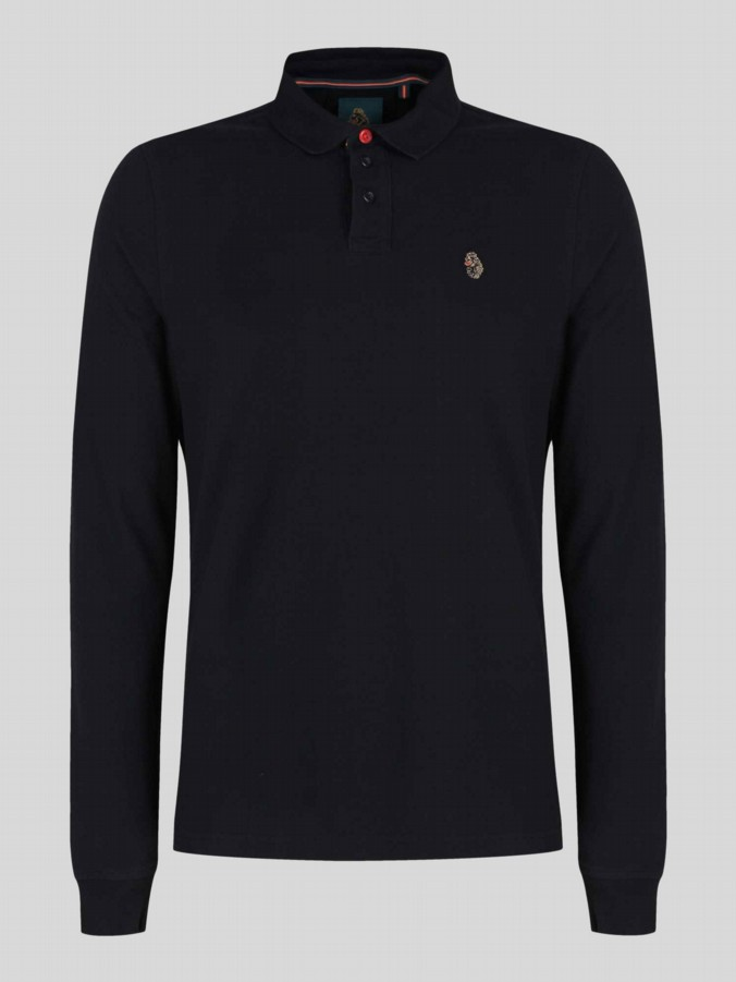 luke 1977 sport mens designer long sleeve black polo shirt