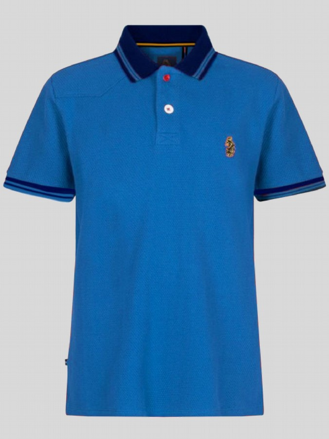 luke 1977 mens designer sky blue navy waffle polo shirt