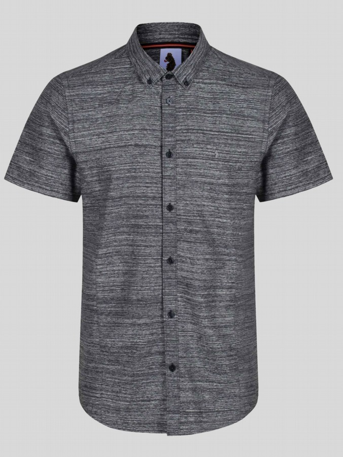 luke 1977 mens designer grey slim fit short sleeve shirt