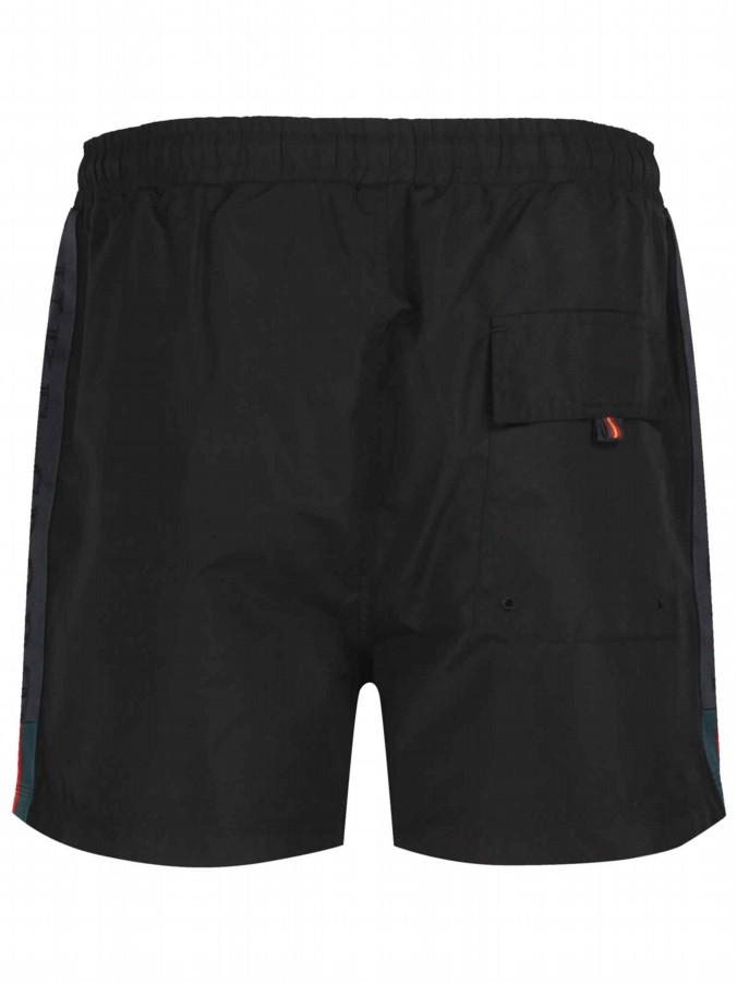 luke 1977 mens designer black sports swimshorts
