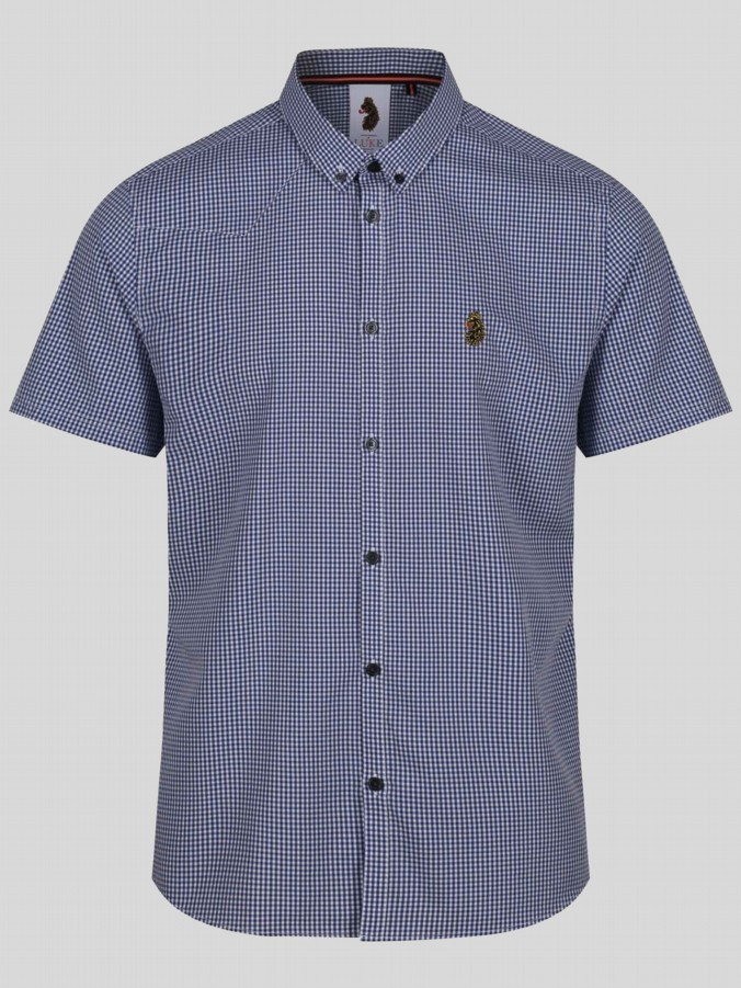 luke 1977 mens designer dark blue gingham shirt