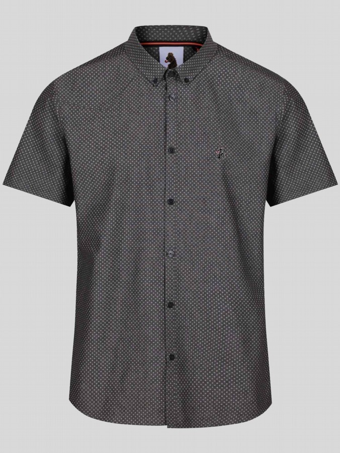luke 1977 mens designer graphite short sleeve pattern shirt