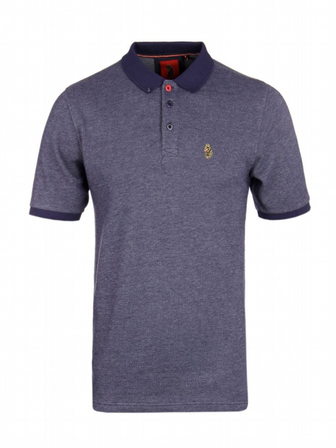 luke 1977 mens designer tonos navy grey polo shirt