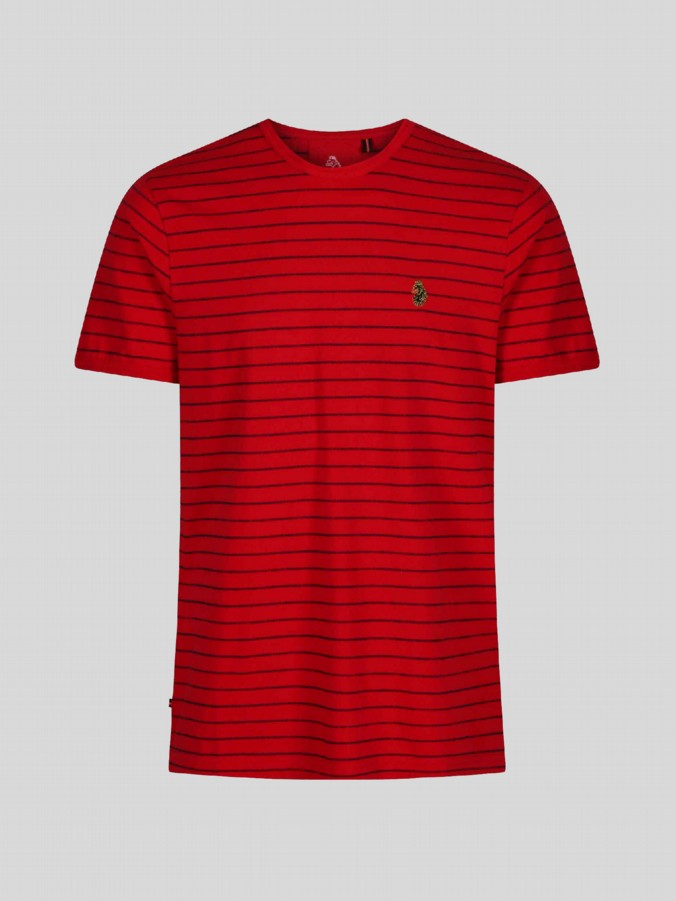luke junior boys designer red striped tshirt