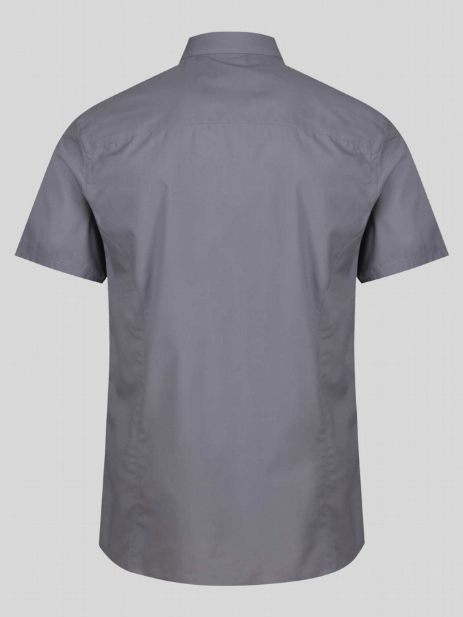 luke 1977 mens designer tampered nickle grey short sleeve shirt