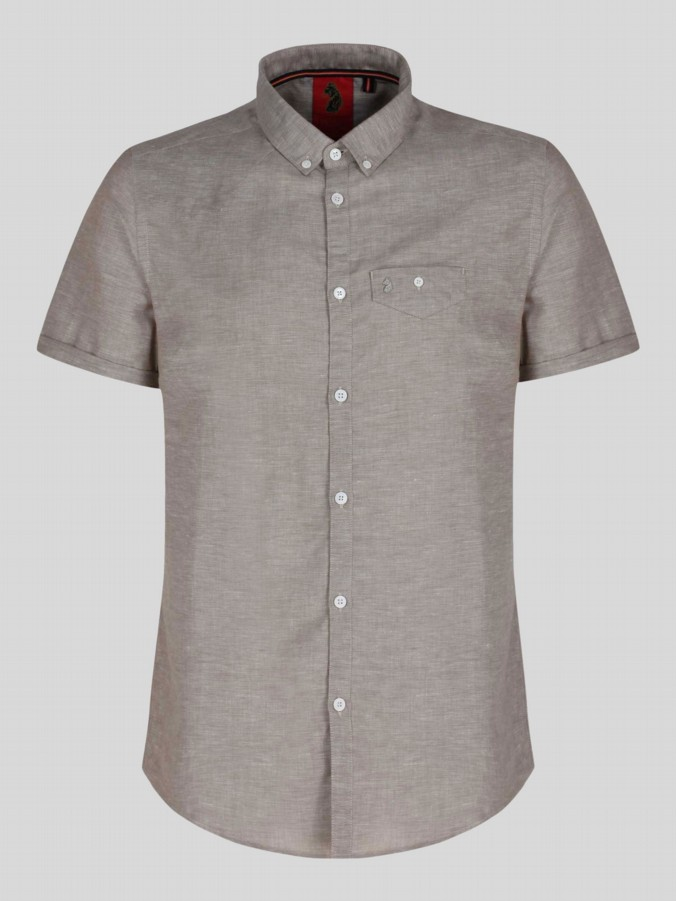 luke 1977 mens designer short sleeve lux sand cotton linen summer shirt