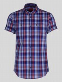 luke 1977 mens designer blue checked short sleeve shirt