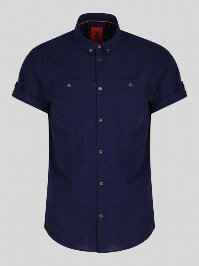 luke 1977 mens designer navy short sleeve shirt multicoloured slub