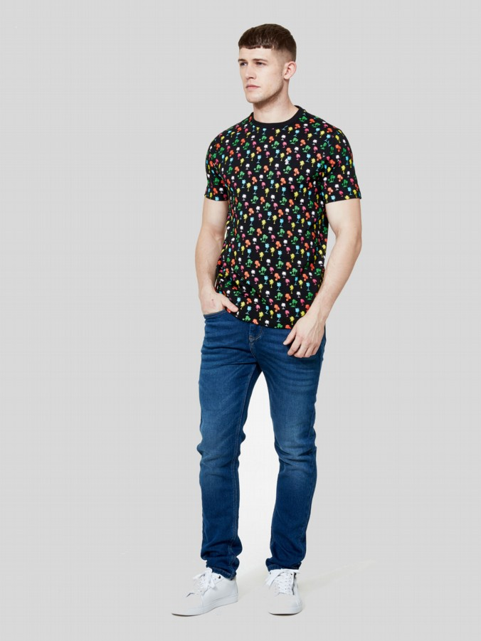 luke 1977 mens designer black multicoloured palm tree print tshirt