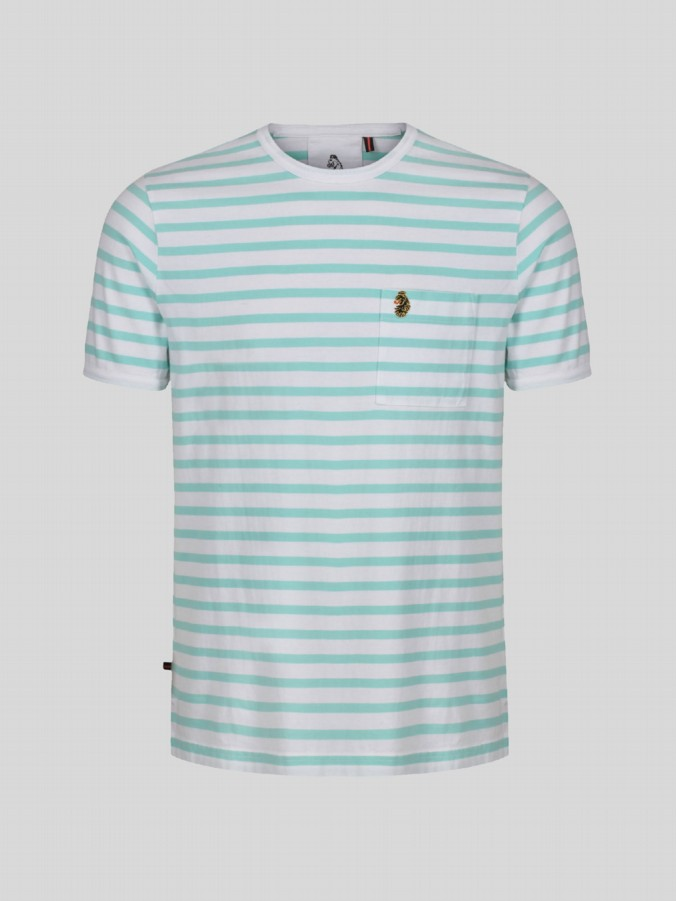 little luke kids designer stripe aqua tshirt
