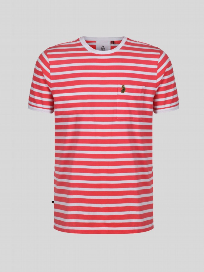 luke junior boys stripe coral tshirt