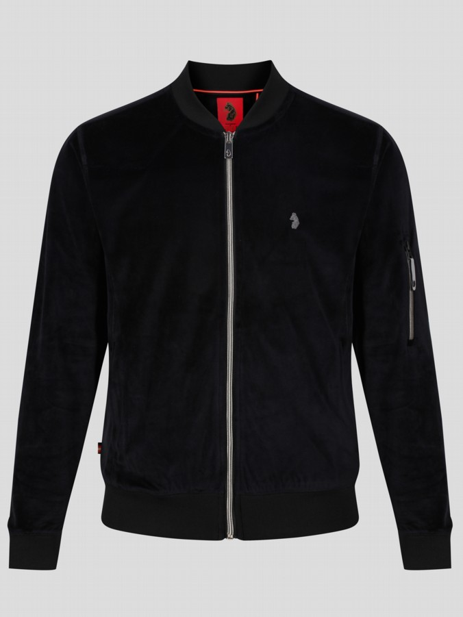 luke 1977 mens designer black velour zip up blouson