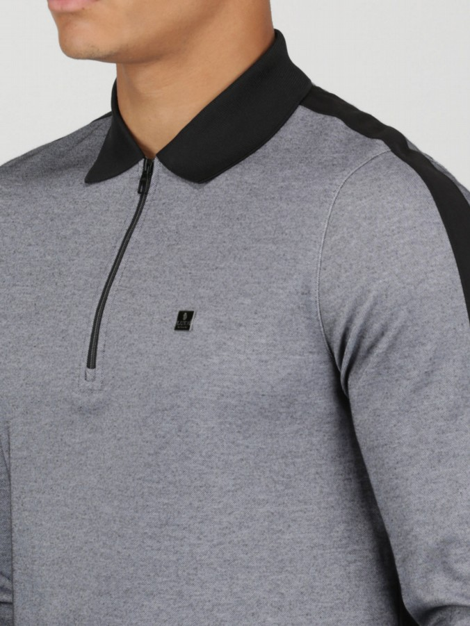 LONG RONS SON L/S ZIP DETAIL POLO