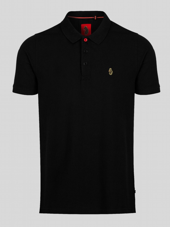 Luke 1977 Tipped Black Polo Shirt Regular Fit Pure Cotton Top for Men