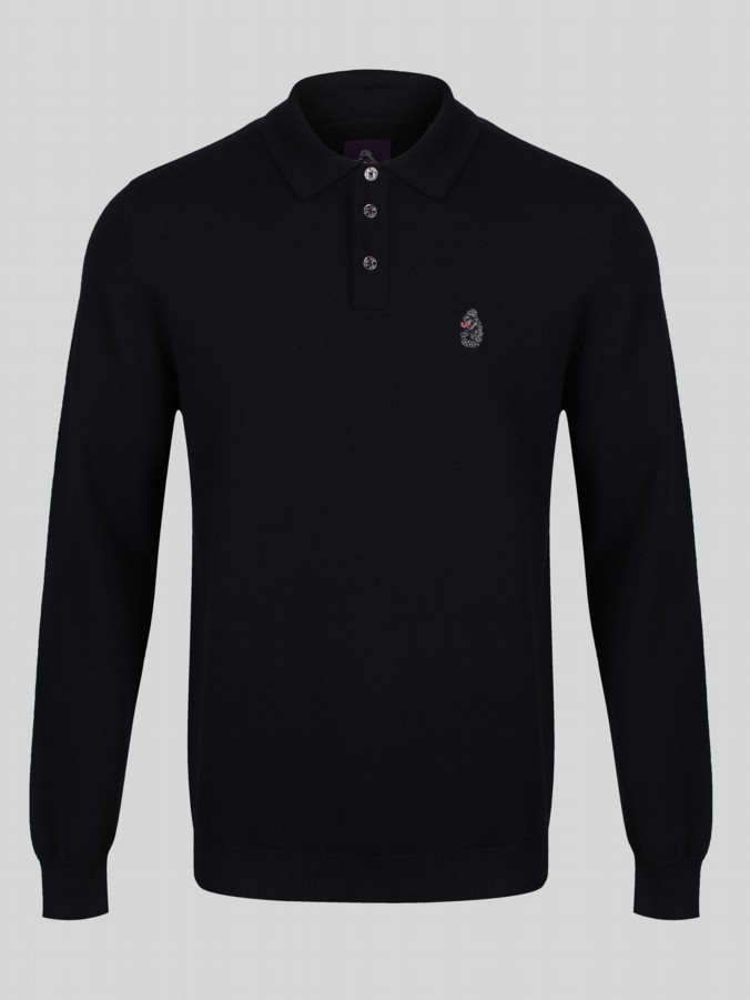 Luke 1977 Magnesium long sleeve knitted polo